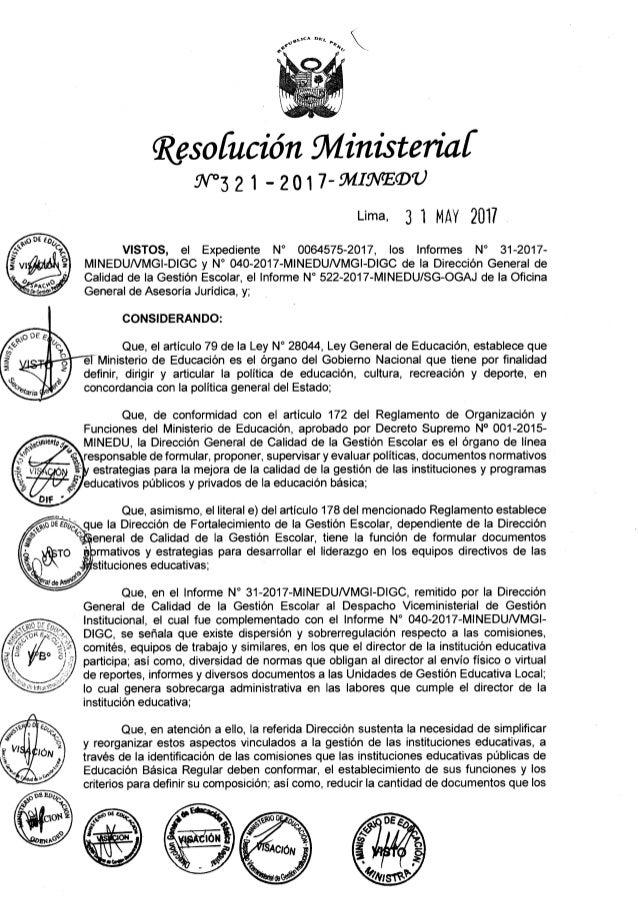 """RM.321-2017-MINEDU  Dispone modificación de diversos dispositivos normativos y de """"Normas sobre determinación de los cinco..."""