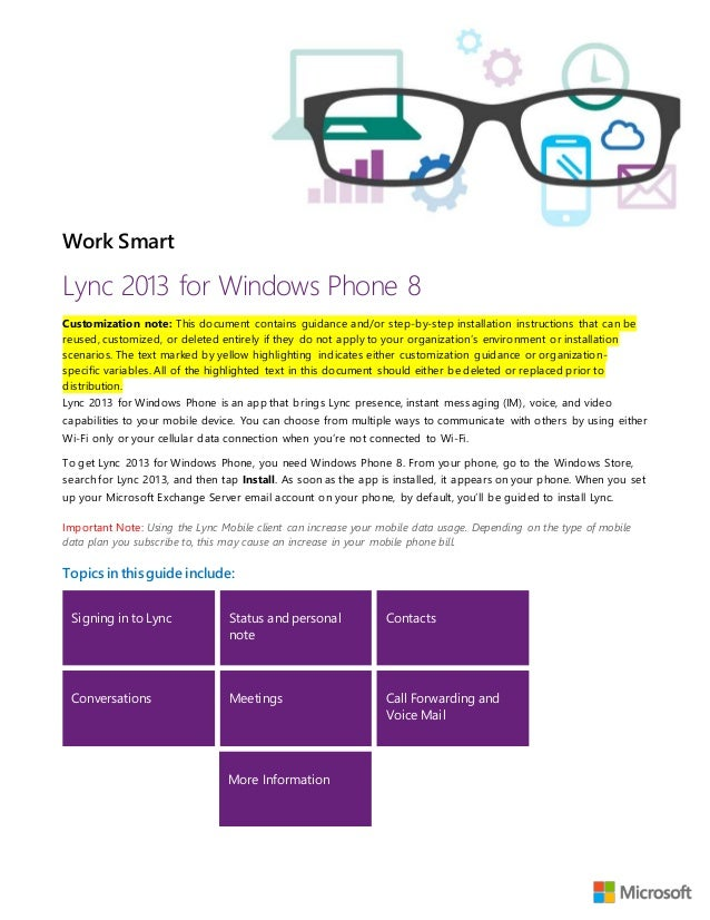Microsoft lync available for windows phone and android, ios.