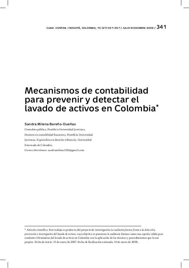 cuad. contab. / bogotá, colombia, 10 (27):341-357 / julio-diciembre 2009 / 341 Mecanismos de contabilidad para prevenir y ...