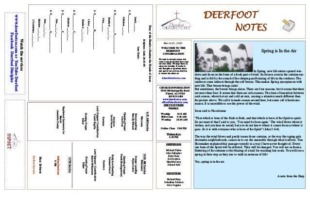 DEERFOOT DEERFOOT DEERFOOT DEERFOOT NOTES NOTES NOTES NOTES March 21, 2021 WELCOME TO THE DEERFOOT CONGREGATION We want to...