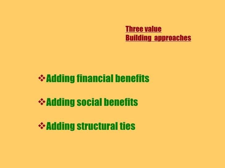 Three value Building  approaches <ul><li>Adding financial benefits </li></ul><ul><li>Adding social benefits </li></ul><ul>...