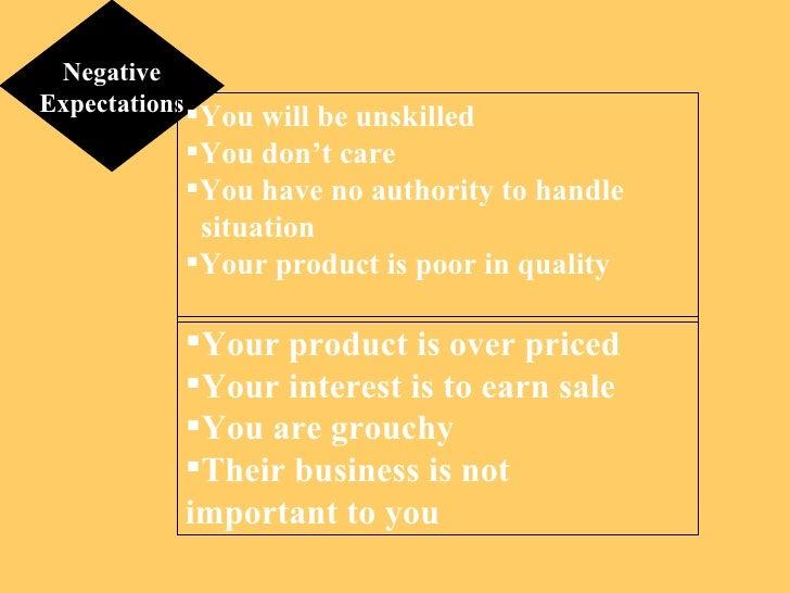 Negative Expectations <ul><li>Your product is over priced </li></ul><ul><li>Your interest is to earn sale </li></ul><ul><l...