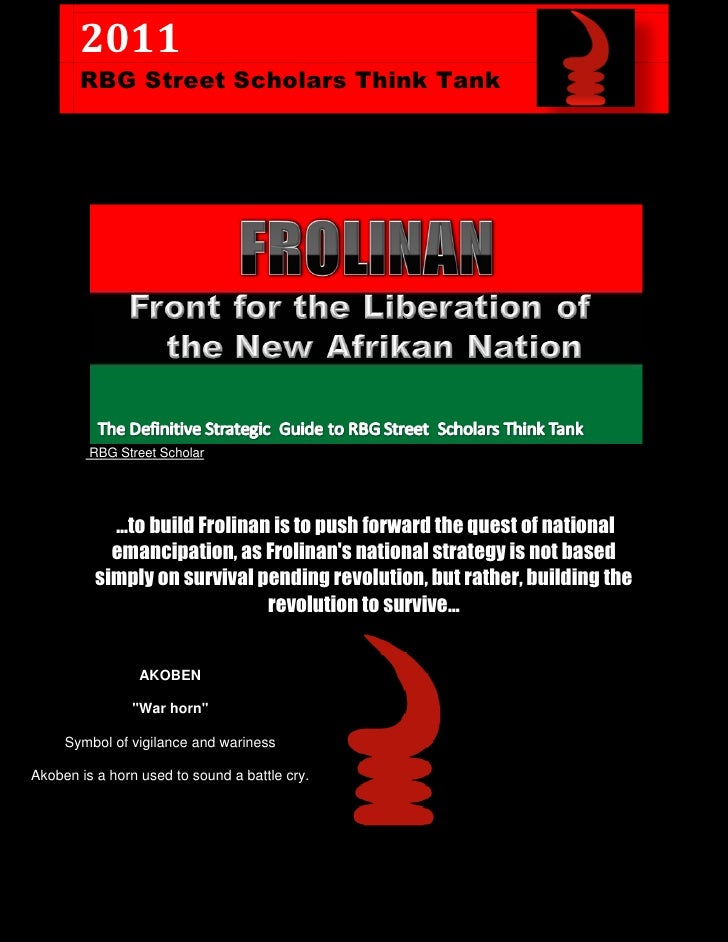2011       RBG Street Scholars Think Tank         RBG Street Scholar            …to build Frolinan is to push forward the ...