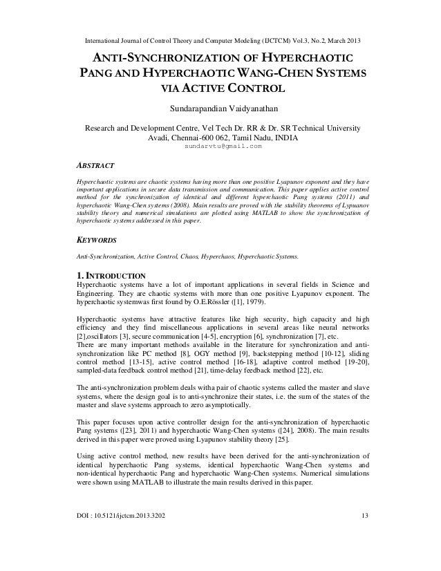 International Journal of Control Theory and Computer Modeling (IJCTCM) Vol.3, No.2, March 2013   ANTI-SYNCHRONIZATION OF H...
