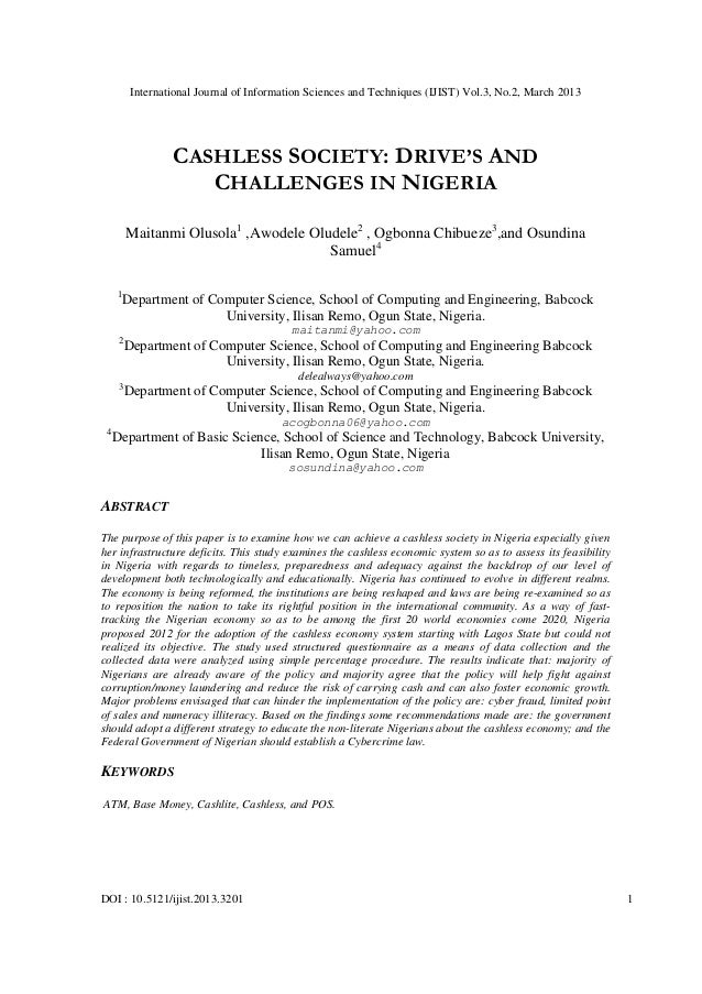 Cashless economy in nigeria pdf file