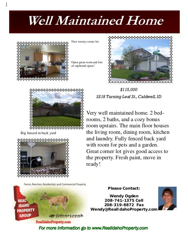 Well Maintained Home $115,000 3218 Turning Leaf St., Caldwell,ID Very well maintained home. 2 bed- rooms, 2 baths, and a c...