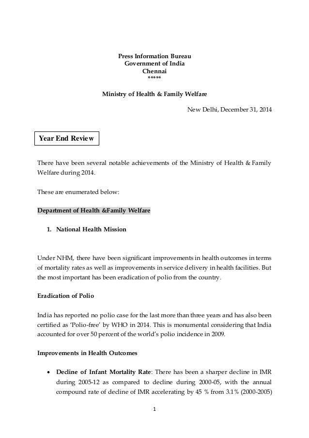 1 Press Information Bureau Government of India Chennai ***** Ministry of Health & Family Welfare New Delhi, December 31, 2...