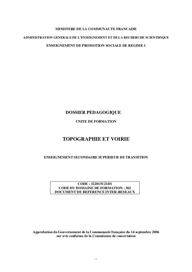 - 1 - MINISTERE DE LA COMMUNAUTE FRANCAISE ADMINISTRATION GENERALE DE L'ENSEIGNEMENT ET DE LA RECHERCHE SCIENTIFIQUE ENSEI...