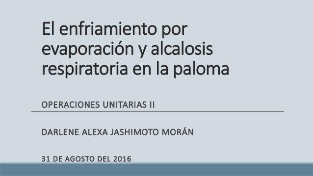El enfriamiento por evaporación y alcalosis respiratoria en la paloma OPERACIONES UNITARIAS II DARLENE ALEXA JASHIMOTO MOR...