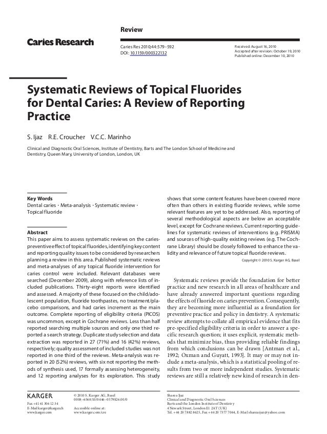 Fax +41 61 306 12 34E-Mail karger@karger.chwww.karger.comReviewCaries Res 2010;44:579–592DOI: 10.1159/000322132Systematic ...