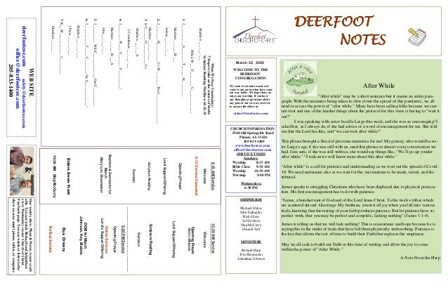 DEERFOOTDEERFOOTDEERFOOTDEERFOOT NOTESNOTESNOTESNOTES March 22, 2020 WELCOME TO THE DEERFOOT CONGREGATION We want to exten...