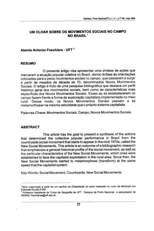 Interface,  Porto Nadorlal/ TOŅJ,  n.1. pJY-GS.  meio 2004  UM OLHAR SOBRE OS MOVIMENTOS SOCIAIS NO CAMPO NO BRASIL'  Atam...
