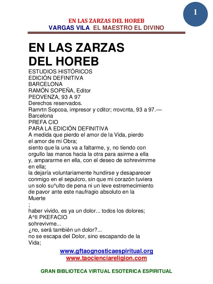 1             EN LAS ZARZAS DEL HOREB        VARGAS VILA EL MAESTRO EL DIVINOEN LAS ZARZASDEL HOREBESTUDIOS HISTÓRICOSEDIC...