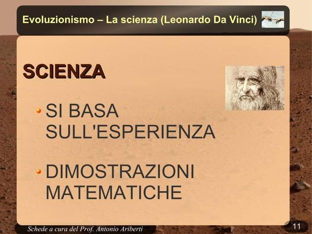 11Schede a cura del Prof. AribertiEvoluzionismo – La scienza (Leonardo Da Vinci)SCIENZASCIENZASI BASASULLESPERIENZADIMOSTR...