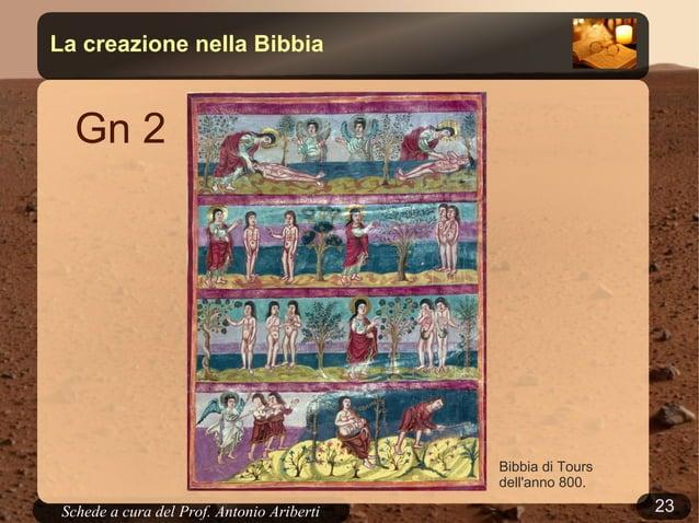 23Schede a cura del Prof. AribertiLa creazione nella BibbiaGn 1Contesto storico: il popoloebraico è deportato in Babilonia...