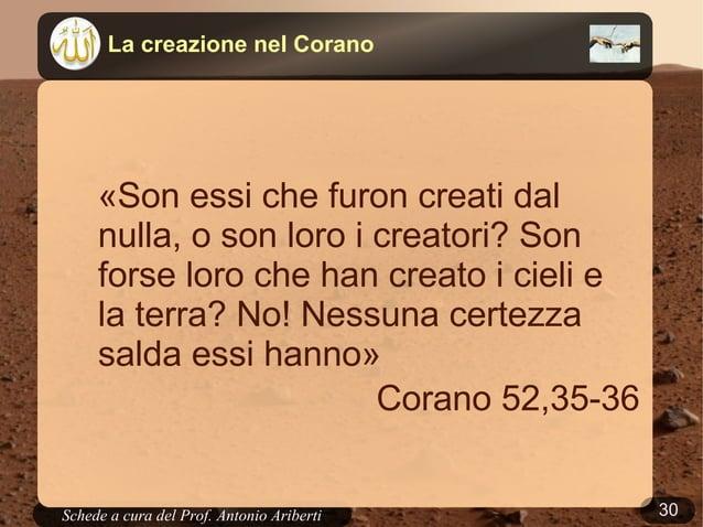 30Schede a cura del Prof. AribertiLa creazione nella BibbiaLa creazionenel Corano