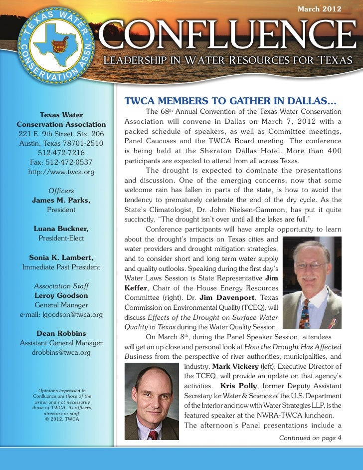 March 2012                                   TWCA MEMBERS TO GATHER IN DALLAS…      Texas Water                  	       T...