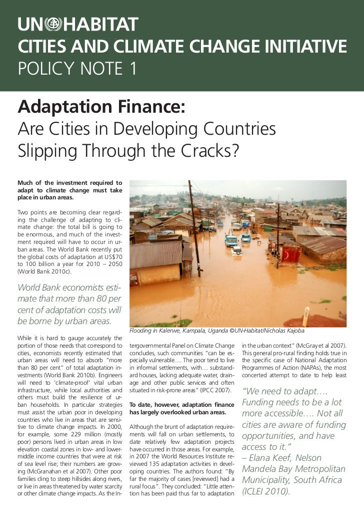 CITIES AND CLIMATE CHANGE INITIATIVEPOLICY NOTE 1Adaptation Finance:Are Cities in Developing CountriesSlipping Through the...