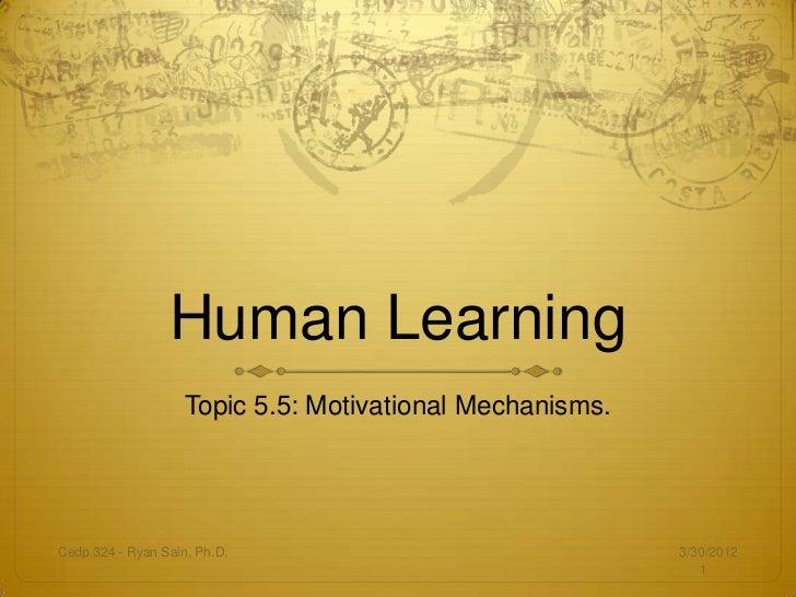Human Learning                    Topic 5.5: Motivational Mechanisms.Cedp 324 - Ryan Sain, Ph.D.                          ...