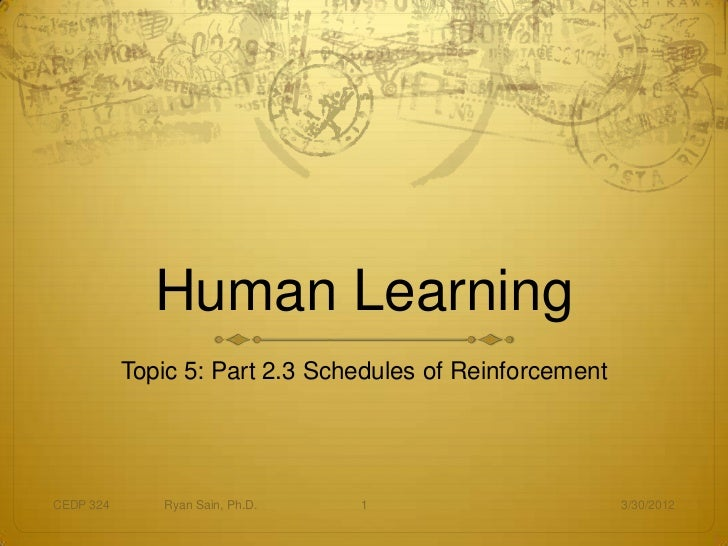 Human Learning           Topic 5: Part 2.3 Schedules of ReinforcementCEDP 324      Ryan Sain, Ph.D.   1                   ...