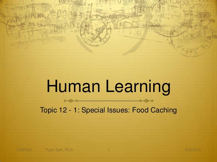 Human Learning          Topic 12 - 1: Special Issues: Food CachingCEDP324    Ryan Sain, Ph.D.   1                        3...