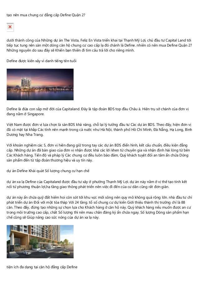 tạo nên mua chung cư đẳng cấp Define Quận 2? dưới thành công của Những dự án The Vista, Feliz En Vista triển khai tại Thạn...