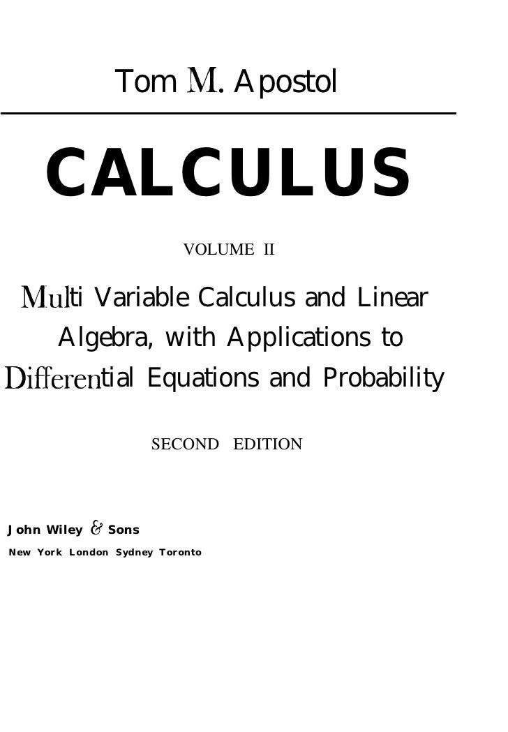 (PDF) Calculus - Tom Apostol (Vol.2) | Rogerio Fontelles ...