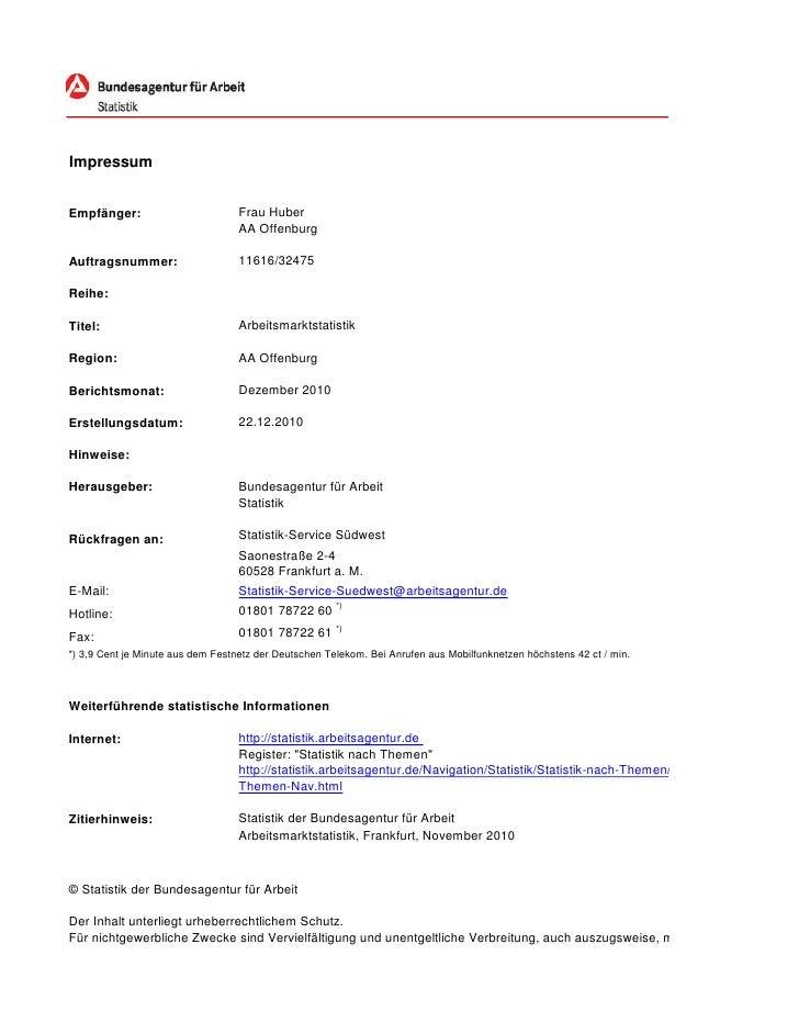 ImpressumEmpfänger:                         Frau Huber                                   AA OffenburgAuftragsnummer:      ...
