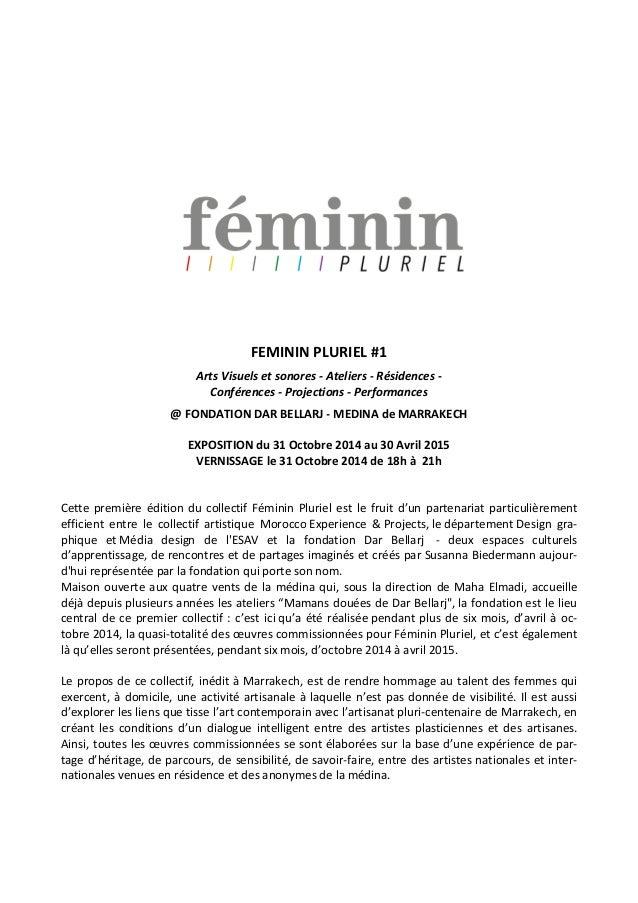 FEMININ PLURIEL #1 Arts Visuels et sonores - Ateliers - Résidences - Conférences - Projections - Performances @ FONDATION ...