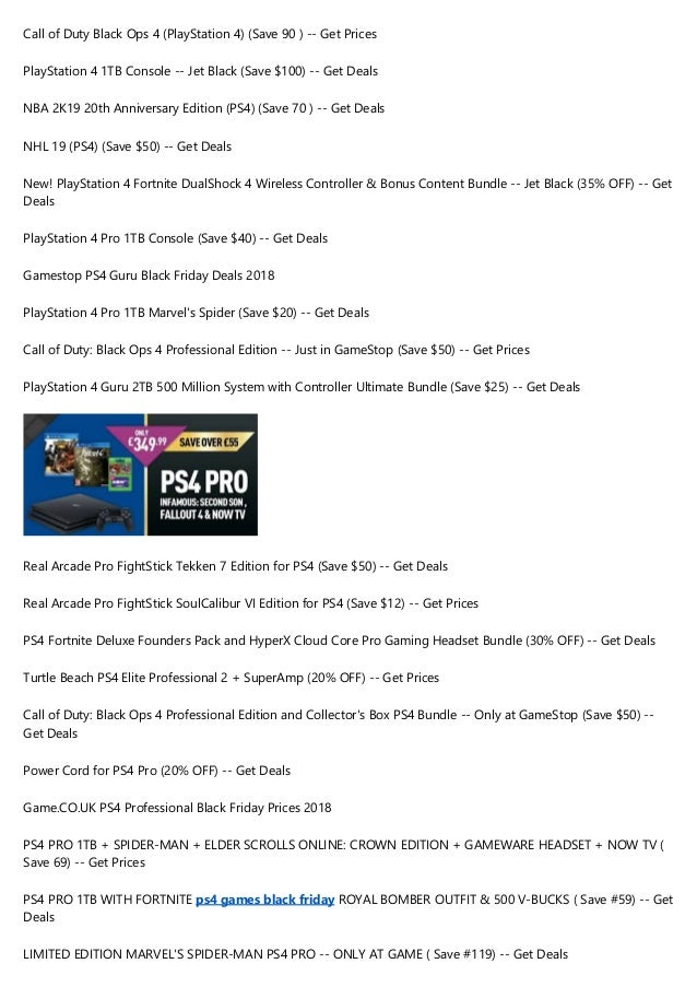 10 Best Ps4 Pro Black Friday Deals 2018 Save 100 On Ps4 Games