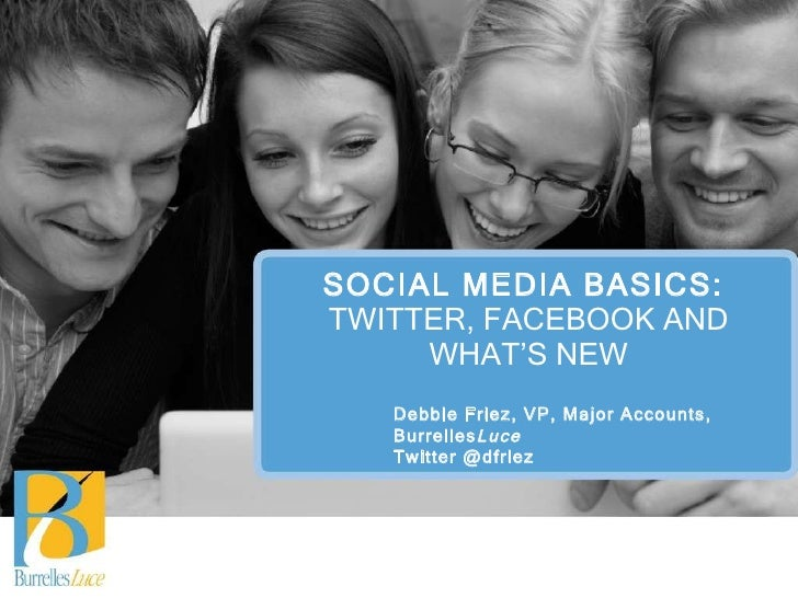 SOCIAL MEDIA BASICS:  TWITTER, FACEBOOK AND WHAT'S NEW Debbie Friez, VP, Major Accounts, Burrelles Luce Twitter @dfriez