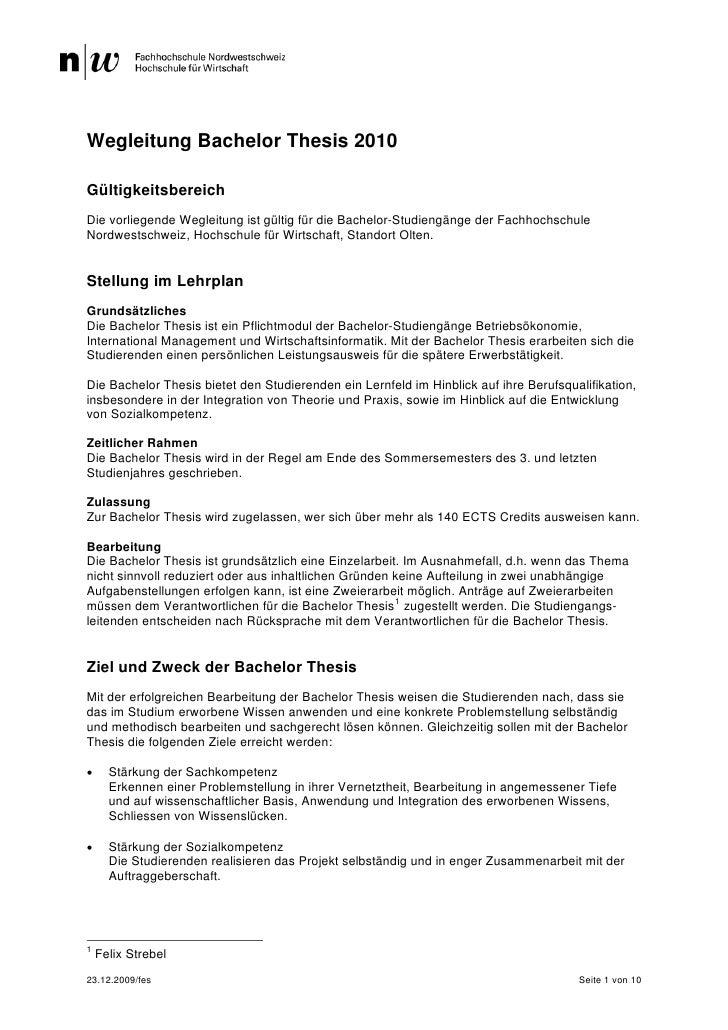 fhnw bachelor thesis wegleitung