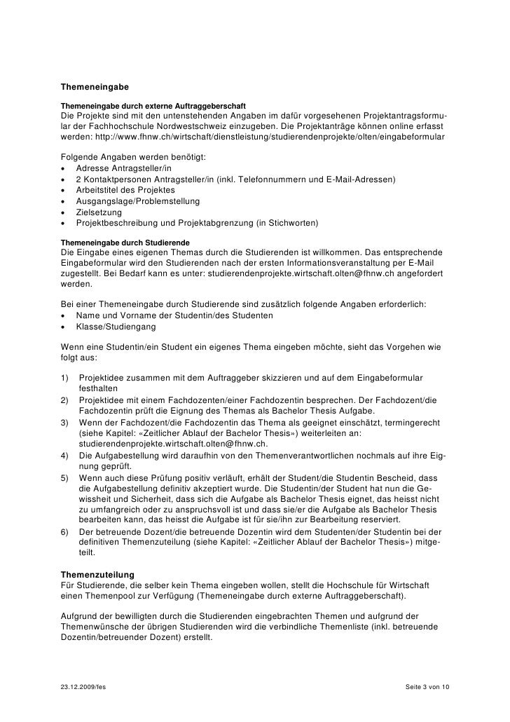 wegleitung bachelor thesis fhnw