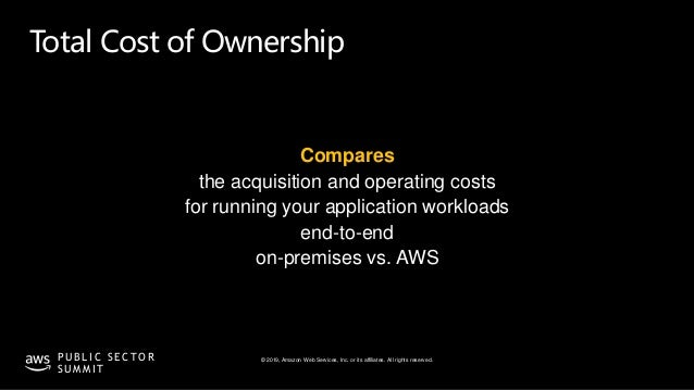 © 2019, Amazon Web Services, Inc. or its affiliates. All rights reserved.P U B L I C S E C T O R S U M M I T Total Cost of...