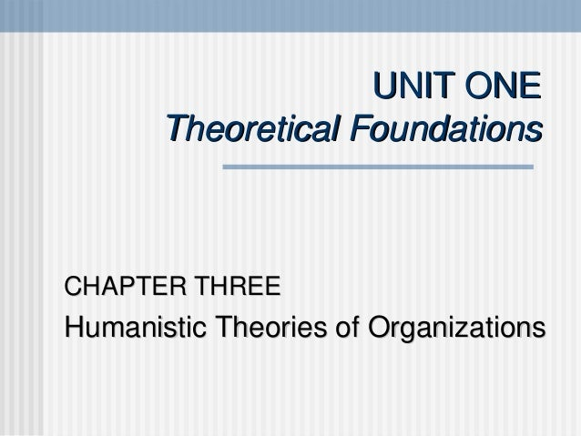 UNIT ONE       Theoretical FoundationsCHAPTER THREEHumanistic Theories of Organizations