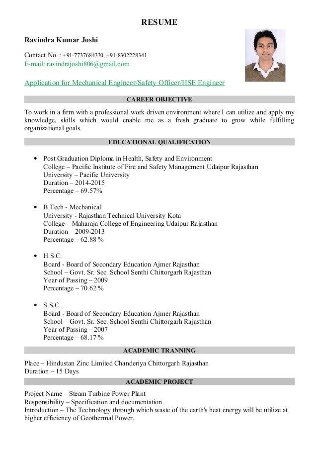 Ravindra Kumar Joshi Resume