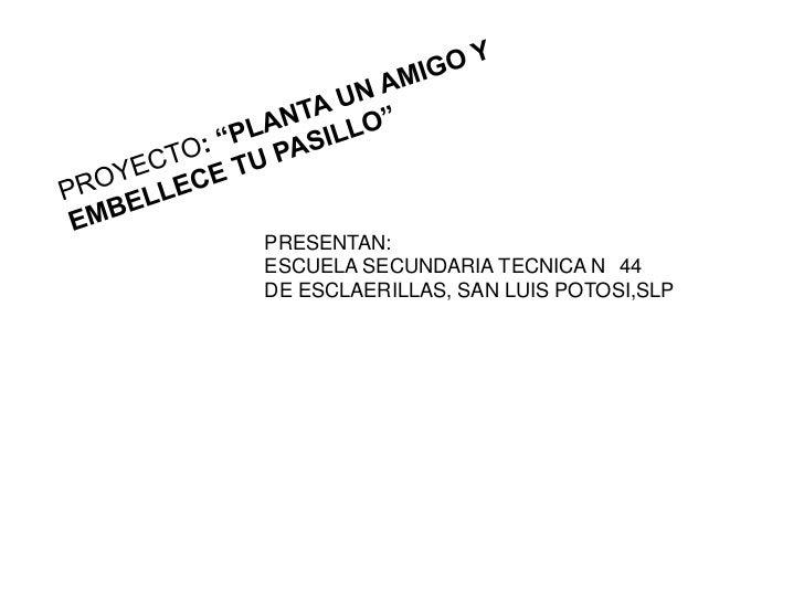 PRESENTAN:ESCUELA SECUNDARIA TECNICA N 44DE ESCLAERILLAS, SAN LUIS POTOSI,SLP