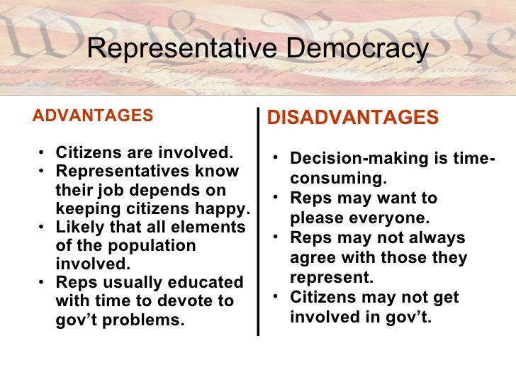 advantages and disadvantages of democracy Major question what were the advantages and disadvantages of the politics of mass democracy.