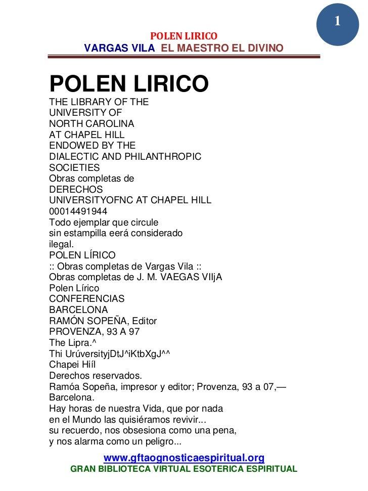 1                 POLEN LIRICO       VARGAS VILA EL MAESTRO EL DIVINOPOLEN LIRICOTHE LIBRARY OF THEUNIVERSITY OFNORTH CARO...