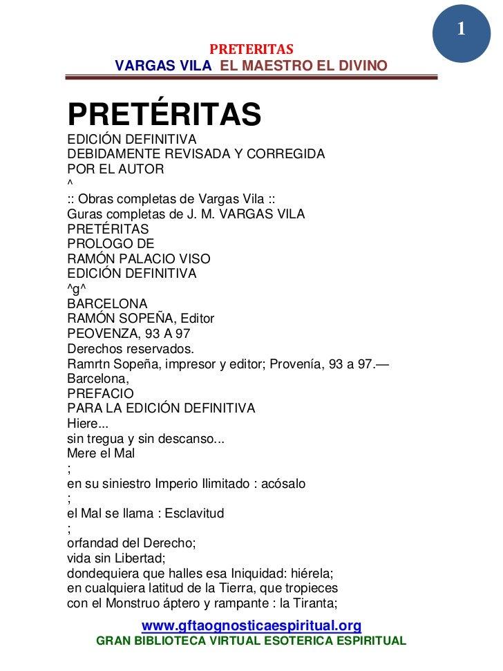 1                  PRETERITAS       VARGAS VILA EL MAESTRO EL DIVINOPRETÉRITASEDICIÓN DEFINITIVADEBIDAMENTE REVISADA Y COR...