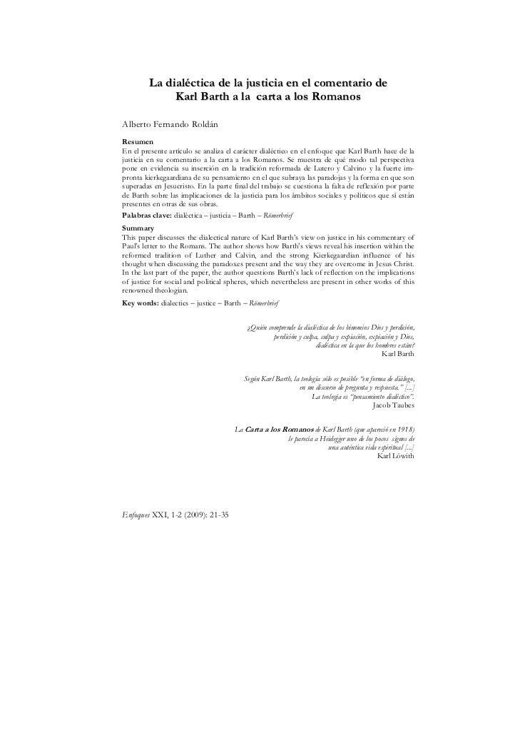 La dialéctica de la justicia en el comentario de              Karl Barth a la carta a los RomanosAlberto Fernando RoldánRe...