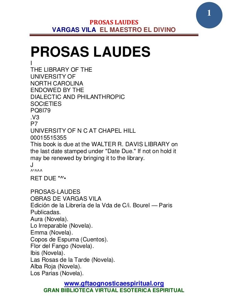 1                  PROSAS LAUDES        VARGAS VILA EL MAESTRO EL DIVINOPROSAS LAUDESITHE LIBRARY OF THEUNIVERSITY OFNORTH...