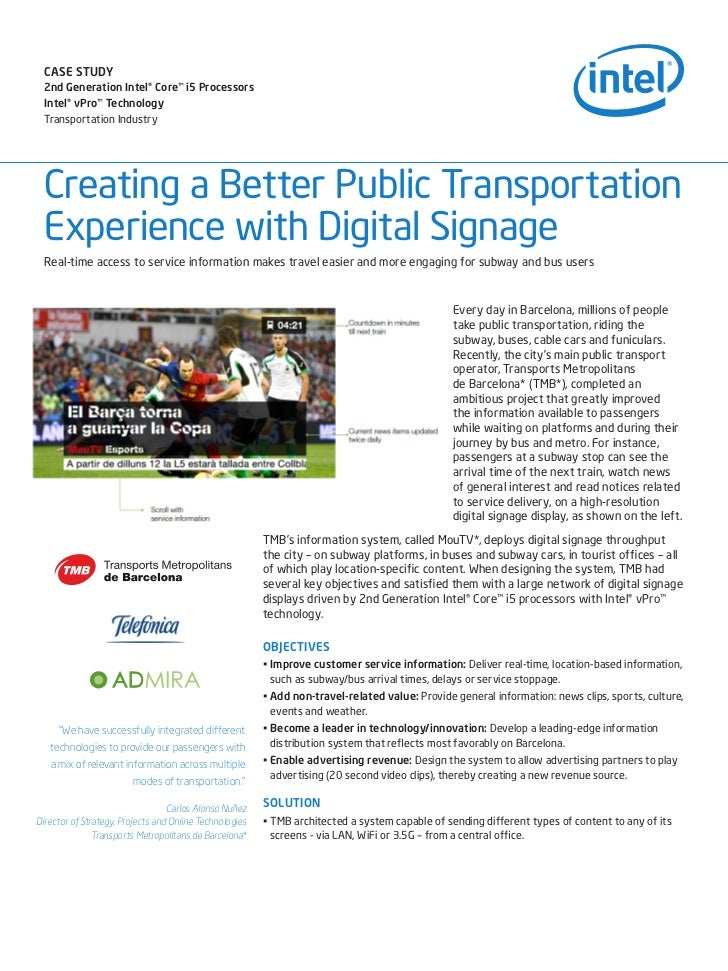 CASE STUDY 2nd Generation Intel® Core™ i5 Processors Intel® vPro™ Technology Transportation Industry Creating a Better Pub...