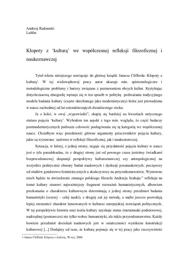 Andrzej Radomski   Lublin   Kłopoty z 'kulturą' we współczesnej refleksji filozoficznej i   naukoznawczej          Tytuł t...