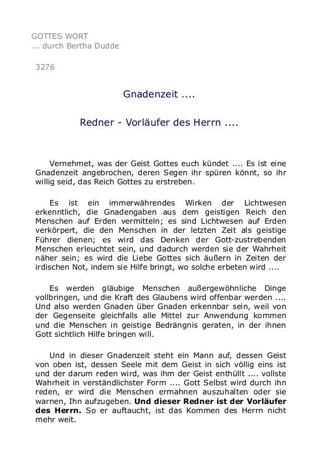 GOTTES WORT ... durch Bertha Dudde 3276 Gnadenzeit .... Redner - Vorläufer des Herrn .... Vernehmet, was der Geist Gottes ...