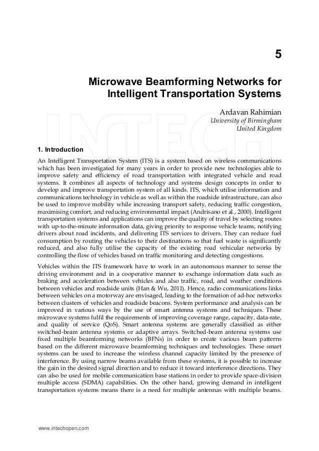 5 Microwave Beamforming Networks For Intelligent Transportation Systems Ardavan Rahimian University Of Birmingham Uni