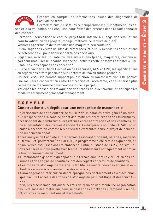 19 CONDUITEDEPROJET-ÉTAPE3 - Prendre en compte les informations issues des diagnostics de l'activité de travail. - Permett...