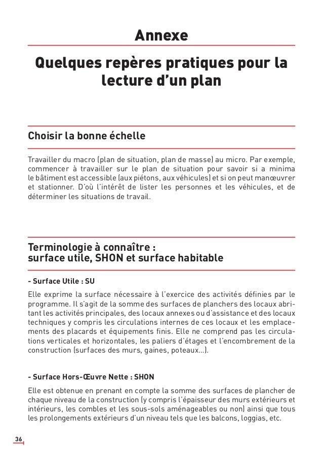 36 Annexe Quelques repères pratiques pour la lecture d'un plan Choisir la bonne échelle Travailler du macro (plan de situa...