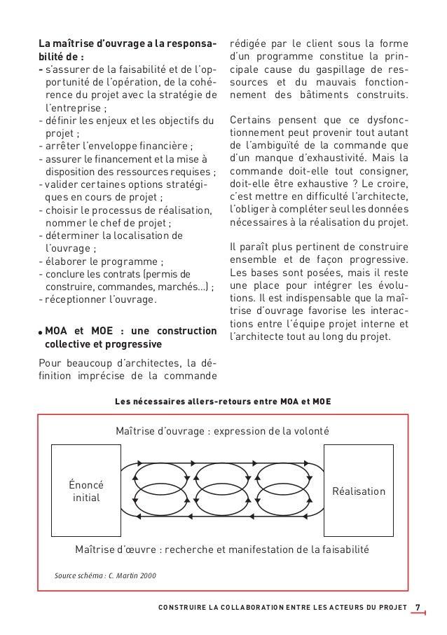 7 La maîtrise d'ouvrage a la responsa- bilité de : - s'assurer de la faisabilité et de l'op- portunité de l'opération, de ...