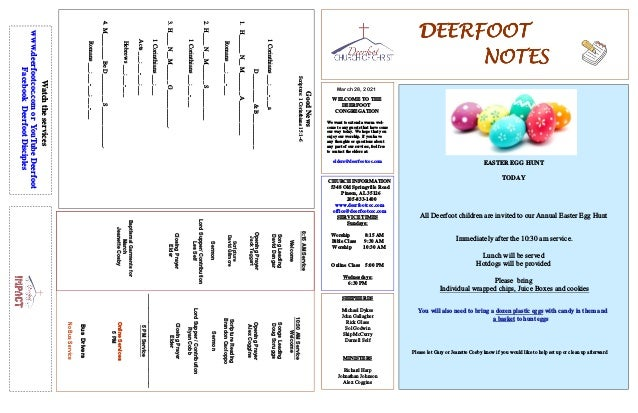 DEERFOOT DEERFOOT DEERFOOT DEERFOOT NOTES NOTES NOTES NOTES March 28, 2021 WELCOME TO THE DEERFOOT CONGREGATION We want to...
